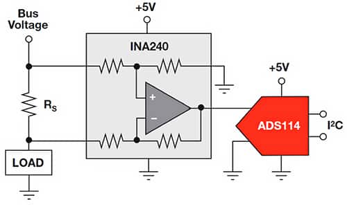 Diagram of high side current measurement circuit using a Texas Instruments INA240